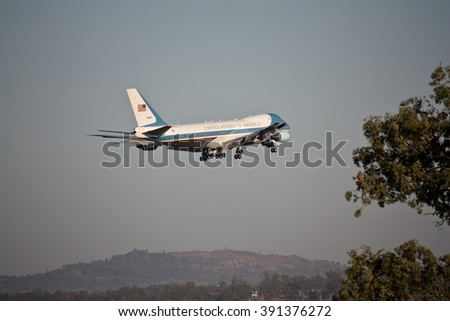AMBERLEY, AUSTRALIA - NOV 15, 2014: US Air Force One about to land at Amberley Air Force Base, November 15, 2014 in Ipswich, Queensland, Australia for G20 Summit in Brisbane - stock photo