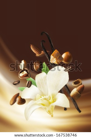 Ambiance background with flavours of vanilla, almonds, nuts and caramel. - stock photo