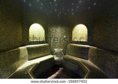 Ambient lighting in steam bath interior - stock photo