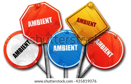 ambient music, 3D rendering, rough street sign collection - stock photo