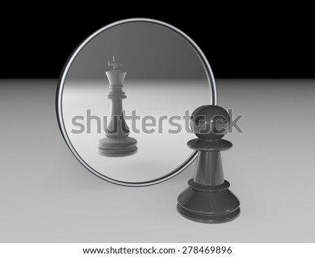 Ambition and dream abstract concept with chess pawn and reflexion of chess king in a mirror. Black and white illustration. - stock photo