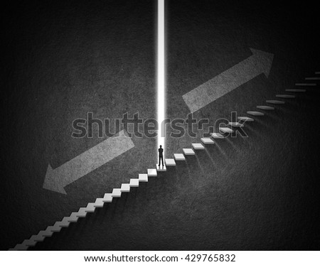 Ambitions concept with businessman climbing stairs, Ambitions concept - stock photo