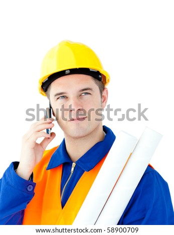 Ambitious male architect talking on phone holding blueprints against white background