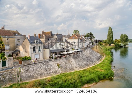 AMBOISE, FRANCE - JUL 16, 2015: A scenic view of the city from the Loire river
