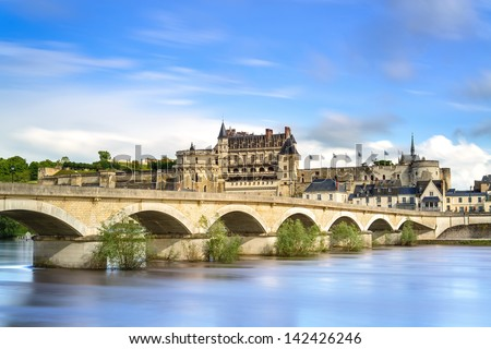 Amboise medieval castle or chateau and bridge on Loire river. France, Europe. Unesco site. - stock photo