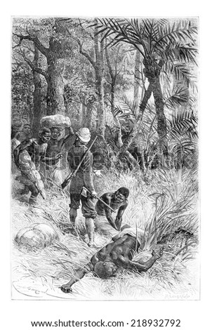 Ambouelan Hunter and His Wife and Children, in Angola, Southern Africa, drawing by Maillart based on the English edition, vintage illustration. Le Tour du Monde, Travel Journal, 1881 - stock photo