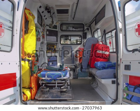 Ambulance and equipment views from inside - stock photo