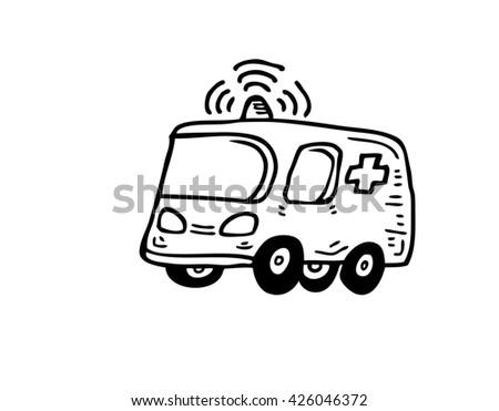 Ambulance car icon - stock photo