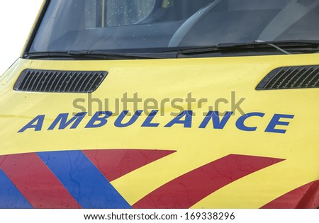 Ambulance car in close up - stock photo