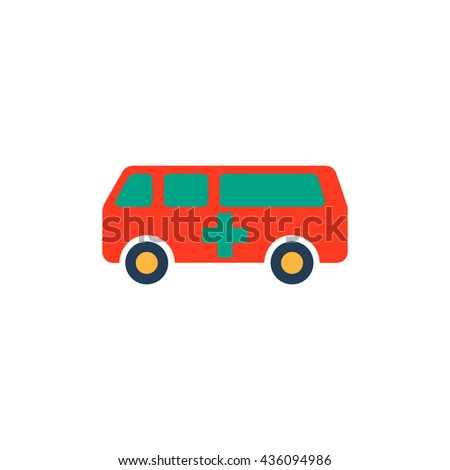 Ambulance. Color simple flat icon on white background - stock photo