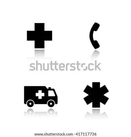 Ambulance drop shadow icons set. Hospital cross symbol, hotline telephone sign, ambulance car, star of life. Urgency medical care. Cast shadow logo concepts. Raster black silhouette illustrations - stock photo
