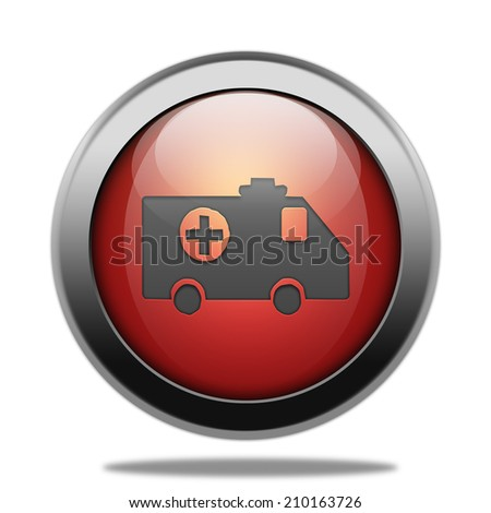 Ambulance icon. Internet red button on white background. - stock photo