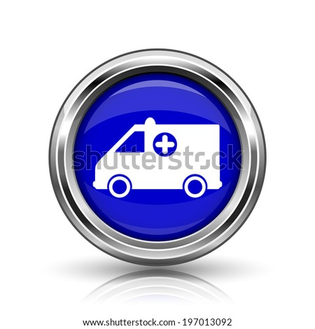 Ambulance icon. Shiny glossy internet button on white background.  - stock photo