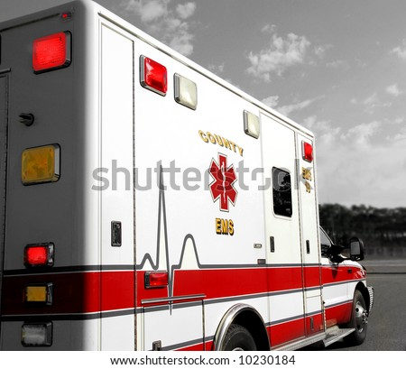 Ambulance on Emergency Call - stock photo
