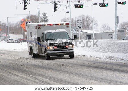 Ambulance Rushing to an emergency - stock photo