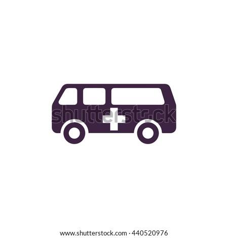 Ambulance. Simple blue icon on white background - stock photo