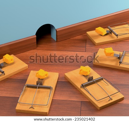 Ambush with various traps. Clipping path included. - stock photo