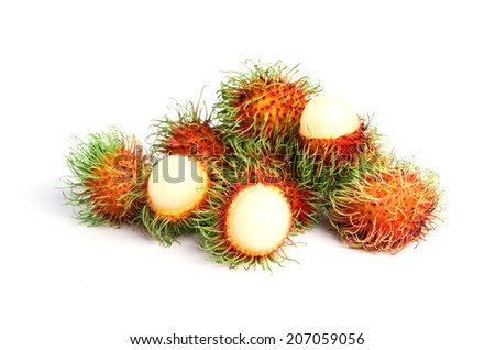ambutan fruit with red shell isolated on white background