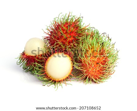 ambutan fruit with red shell isolated on white background  - stock photo