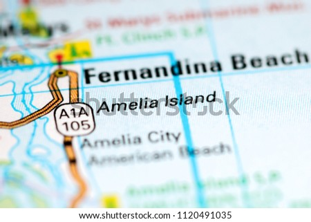 Amelia Island Florida USA On Map Stock Photo (Royalty Free ...