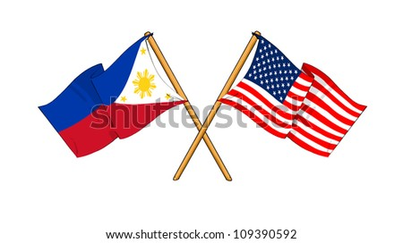 America and Philippines alliance and friendship - stock photo