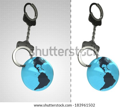 America earth globe in chain as criminality concept double illustration - stock photo