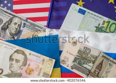 america, europe, ukraine and russia - flag and money - stock photo