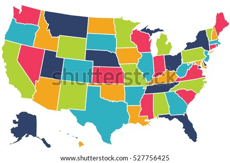 America Flag Usa Map The United States Stock Illustration - States in us map