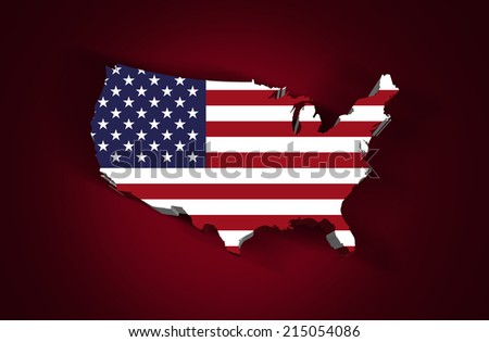 America flag map and red background