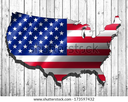 America flag,map and wood background