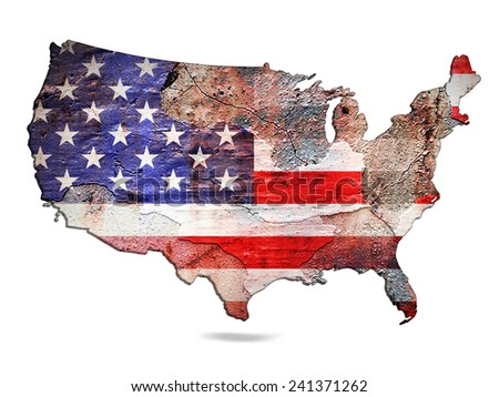 America flag map of wall and white background