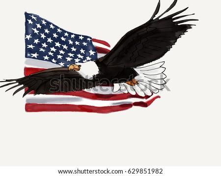 America Flag America American Eagle Symbol Handdrawn Watercolor