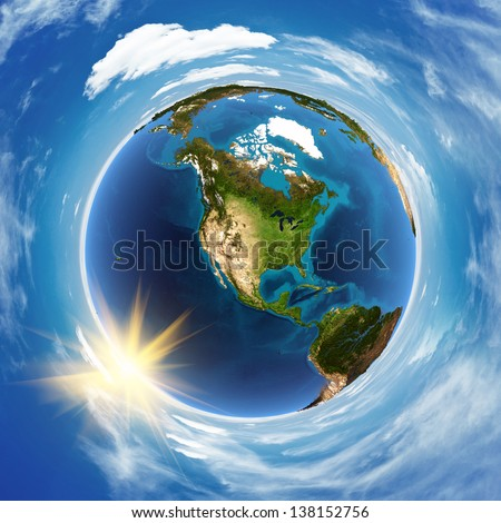 America landscape from space. Elements of this image furnished by NASA - stock photo