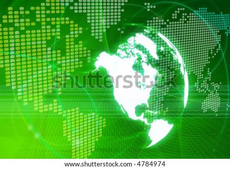America map-digital world - stock photo
