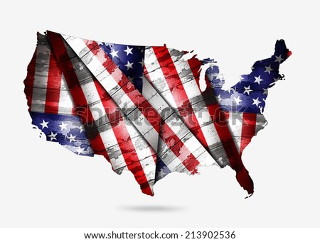 America map of wood and white background