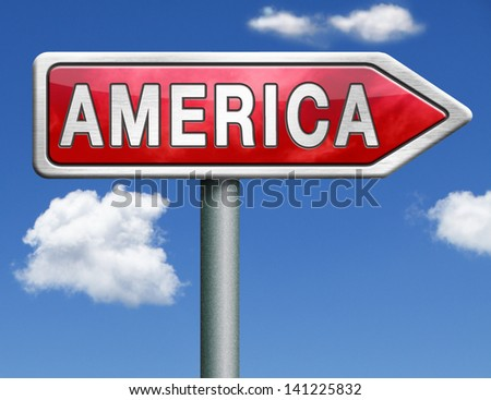 America north america or south america christopher columbus continent road sign arrow - stock photo