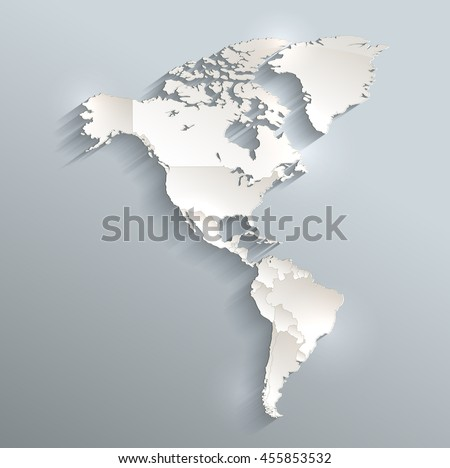 America political map 3D raster individual states separate - stock photo