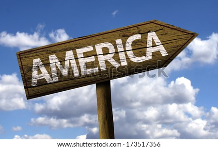 America wooden sign with clouds as the background - stock photo