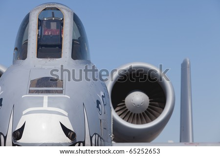 American A-10 Thunderbolt Military Close Air Support Aircraft Bomber close-up view - stock photo