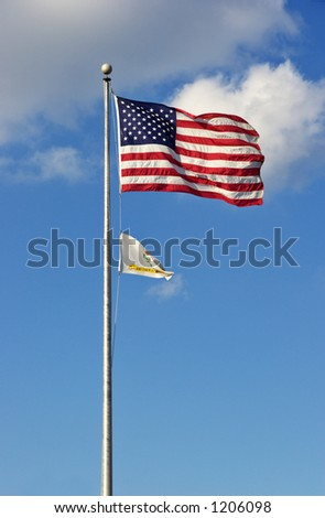 American and Annapolis City flags - stock photo