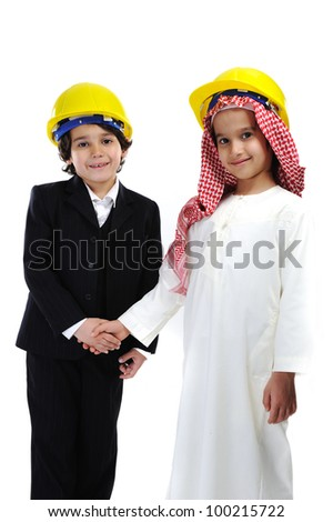 American and Arabic Muslim little  constructors - stock photo