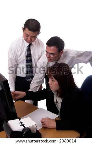 American and asian business people isolated - stock photo