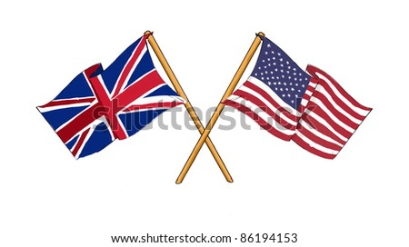 American and British alliance and friendship - stock photo