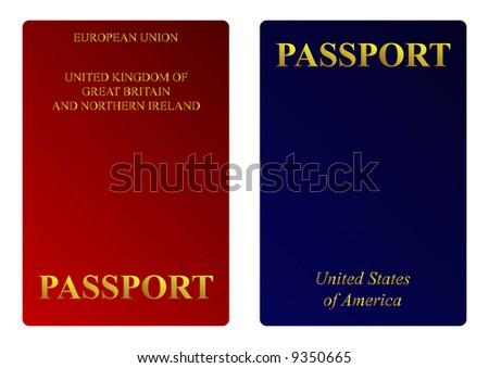 American and British passports - stock photo