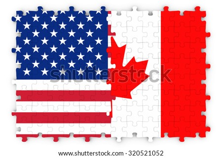 American and Canadian Relations Concept Image - Flags of Canada and the United States of America Jigsaw Puzzle - stock photo