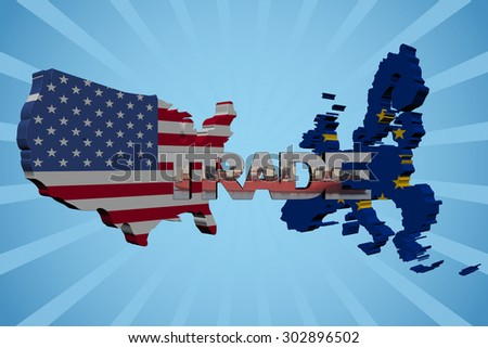 American and EU map flags with trade text illustration - stock photo