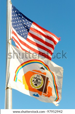 American and Navajo flags - stock photo