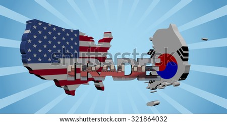 American and South Korean map flags with trade text illustration - stock photo