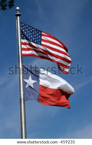 American and Texas Flag - stock photo