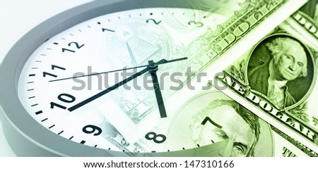 American banknotes. Clock. Time is money concept